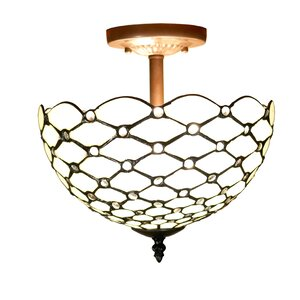 Byanca Style Jeweled 2-Light Semi Flush Mount