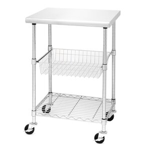 Lille Kitchen Cart with Stainless Steel Top by Rebrilliant