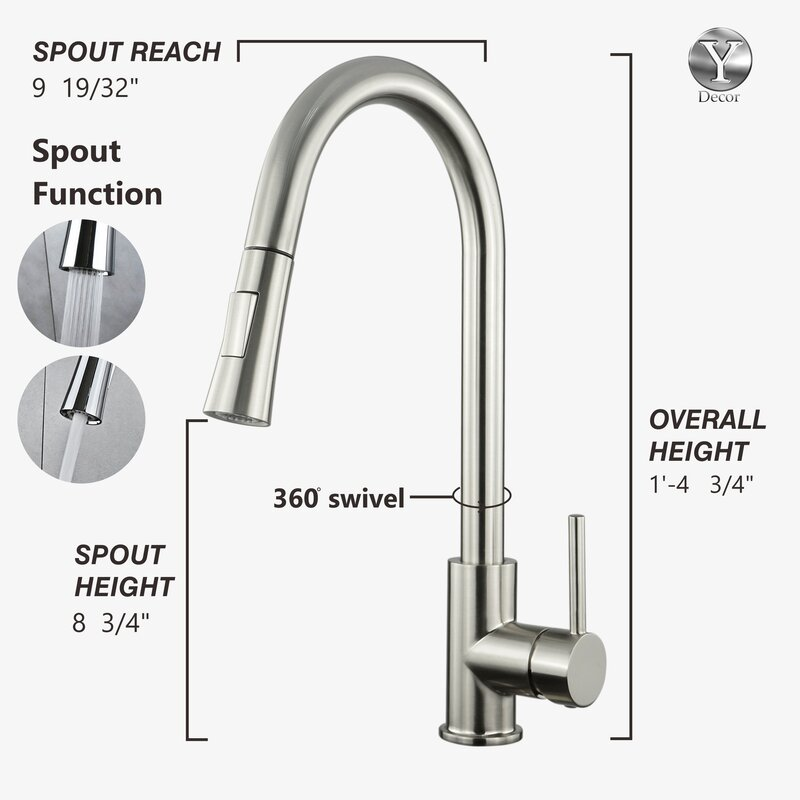 Luxurious Single Handle Pull Down Kitchen Faucet