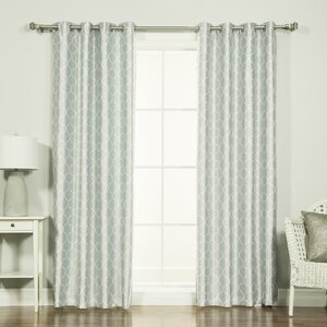 Venetian Quatrefoil Geometric Blackout Thermal Grommet Single Curtain Panel