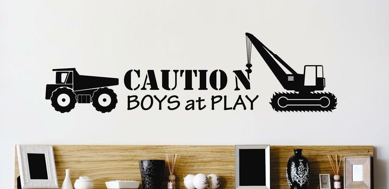 Design With Vinyl Caution Boys At Play Heavy Duty Dump Truck Wall Decal Wayfair