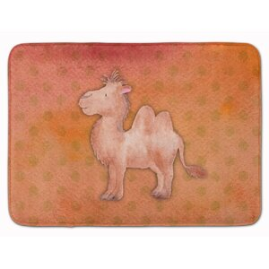 Camel Watercolor Memory Foam Bath Rug