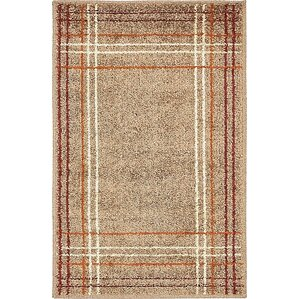 Bryan Light Brown Plaid Area Rug