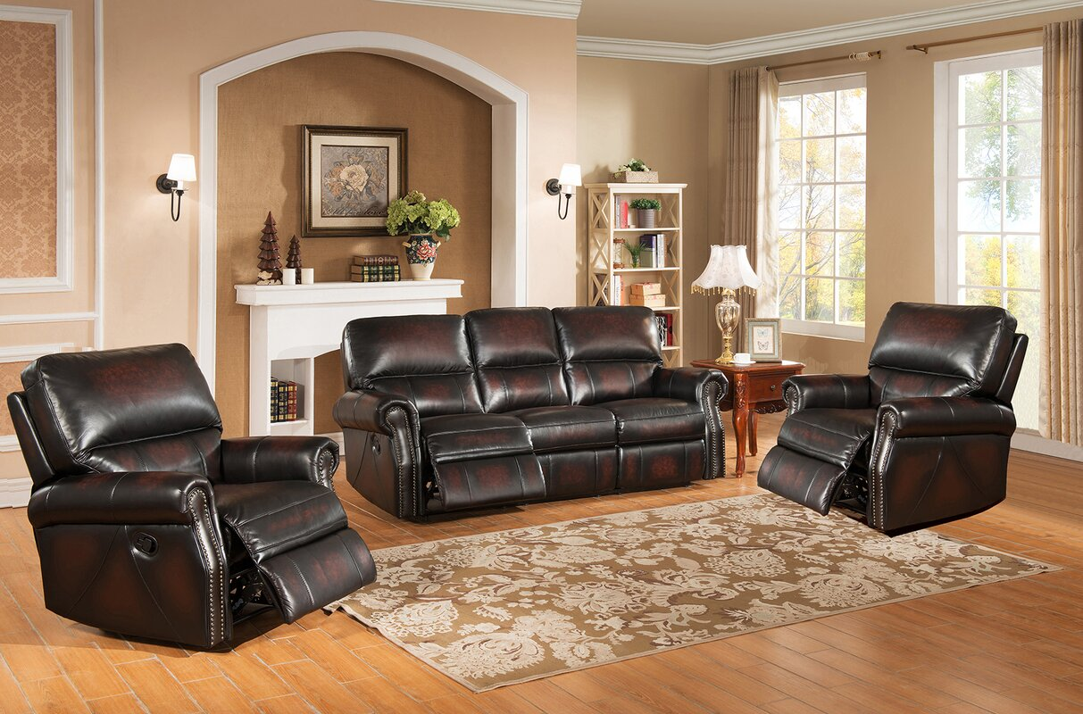 amax nevada 3 piece leather living room set & reviews | wayfair