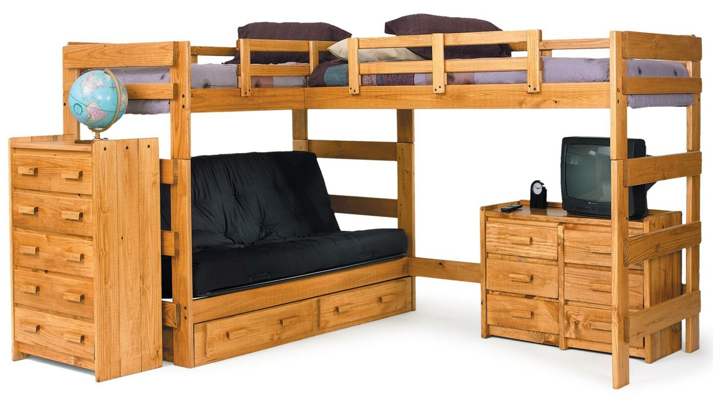 chelsea home l-shaped bunk bed customizable bedroom set & reviews