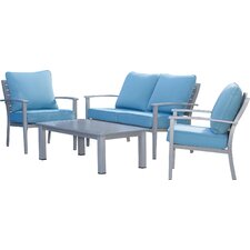 Lehighton Brushed Aluminum Patio Furniture 4 Piece Deep Seating Group with Cushion