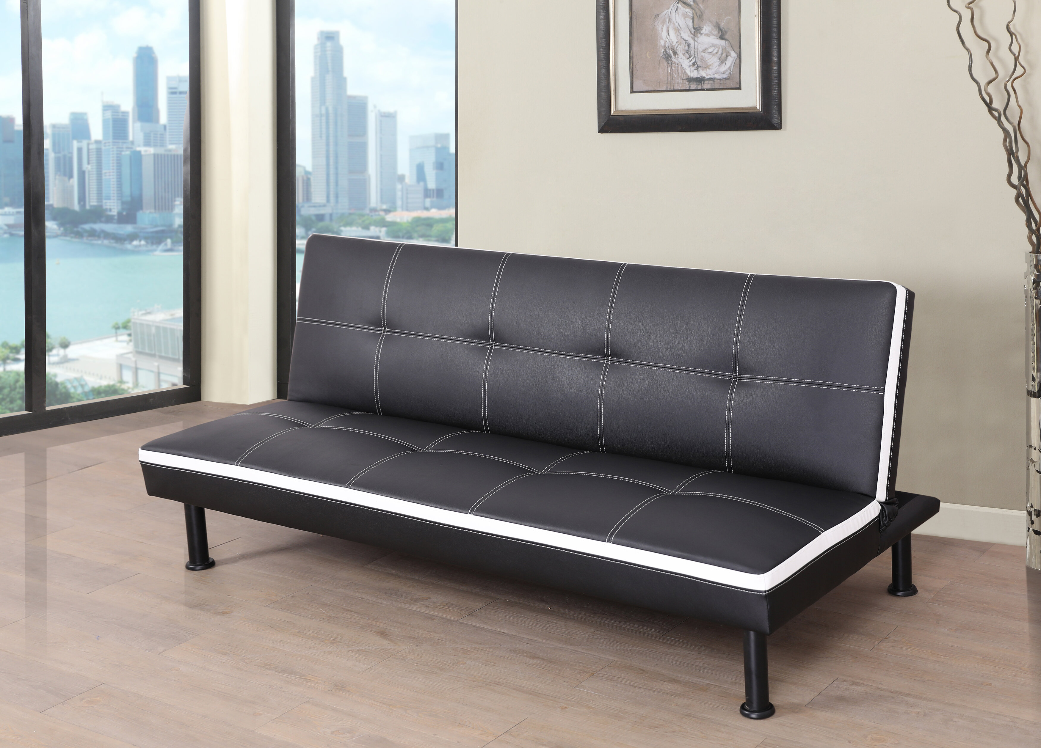 Evianna Faux Leather Convertible Sofa