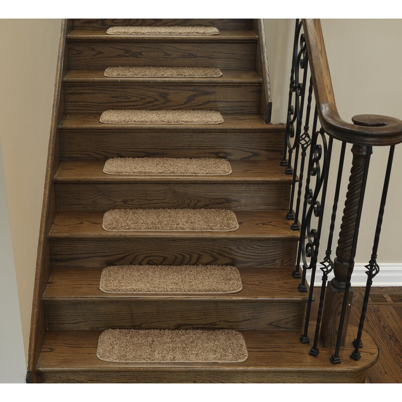 Ottomanson Soft Solid Non Slip Shag Carpet Camel Stair Tread