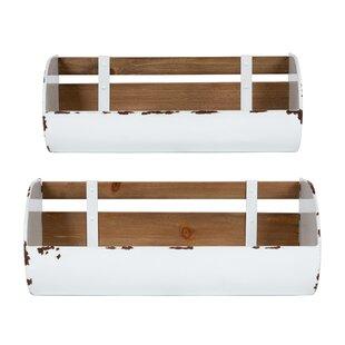 Cheshire Farmhouse 2 Piece Organizer With Wall Basketail Storage Set