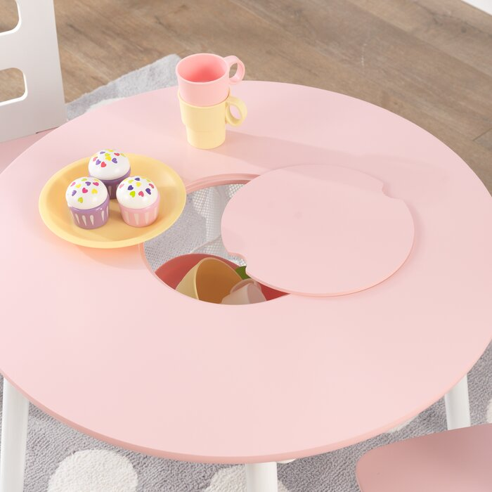 Pink Round Table.Kids 3 Piece Round Table And Chair Set