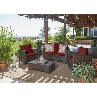 Great choice Belva 4 Piece Rattan Sofa Set with Cushions Beachcrest Home