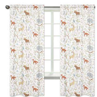 Woodland Toile Wildlife Semi Sheer Rod Pocket Curtain Panels Set Of 2