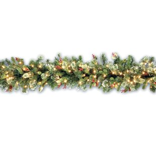 pine pre lit garland - Light Up Christmas Decorations Indoor