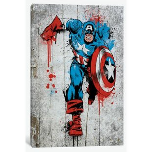 Marvel Comic Book Captain America Spray Paint Graphic Art on Canvas  sc 1 st  Wayfair & Comic Book Wall Art | Wayfair
