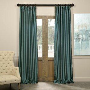 Great Sagunto Vintage Textured Faux Dupioni Silk Rod Pocket Single Curtain Panel