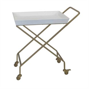 Devon Antique Metal And Wood Mobile Serving Bar Cart 2019 Sale