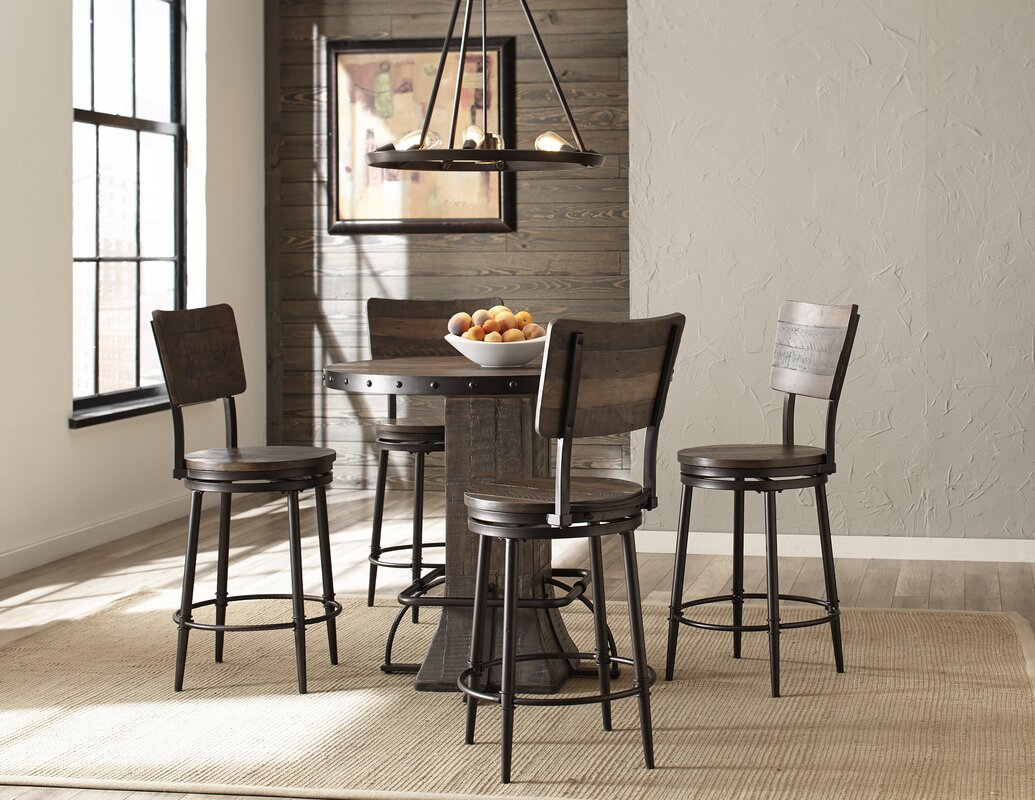 Gracie Oaks Cathie 5 Piece Round Counter Height Dining Set & Reviews ...