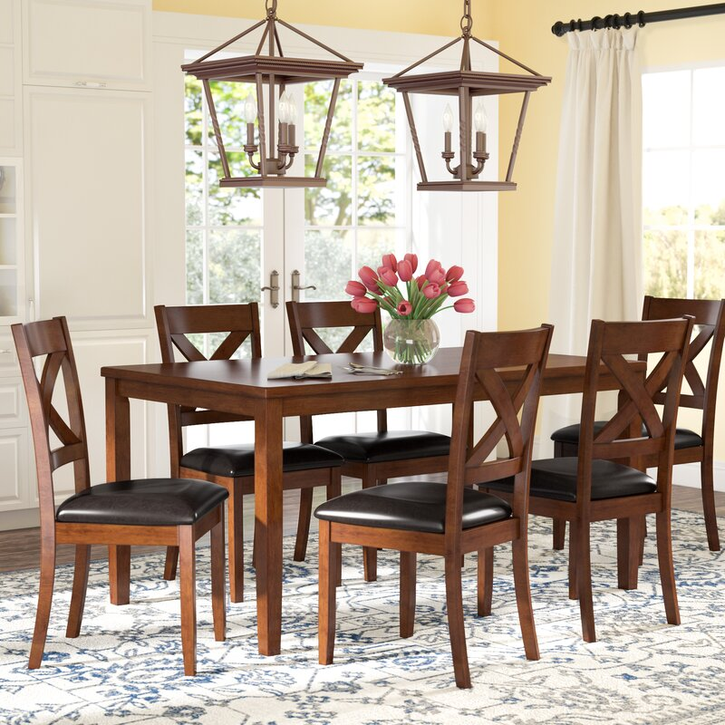 nadine 7 piece breakfast nook dining set reviews birch lane. Black Bedroom Furniture Sets. Home Design Ideas