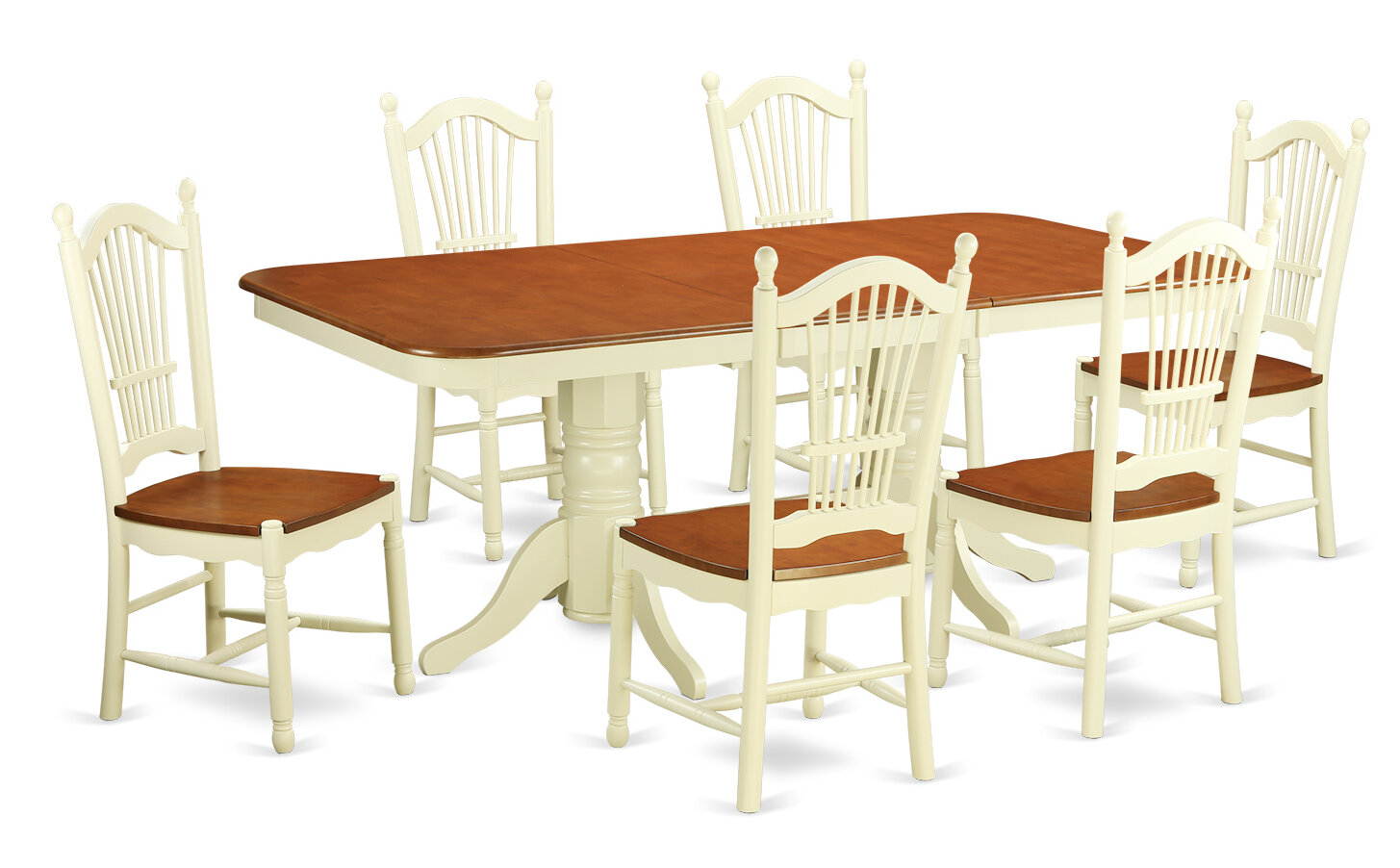 August Grove Pillsbury 7 Piece Dining Set With Double Pedestal Table Legs Wayfair