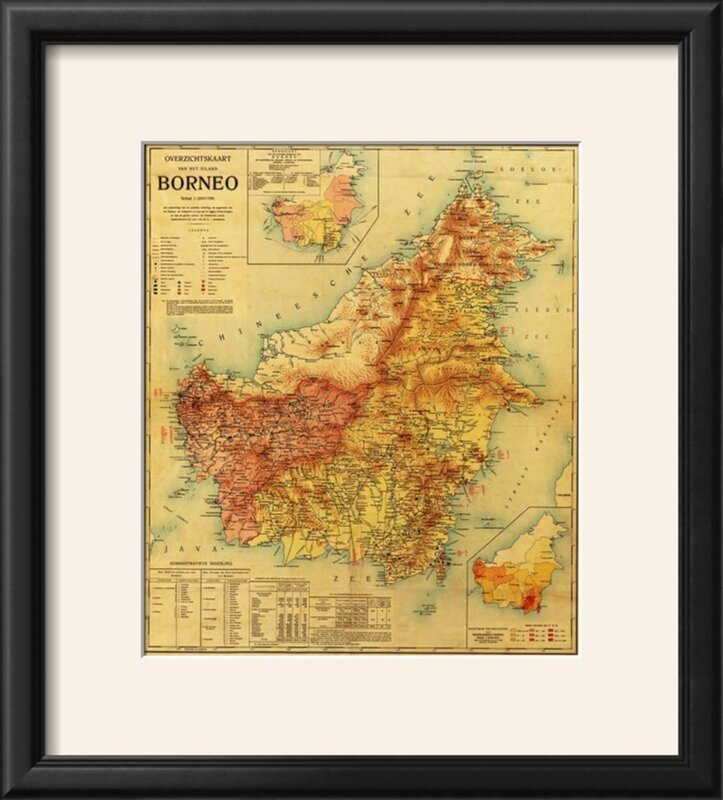 Bloomsbury market borneo panoramic map framed graphic art print borneo panoramic map framed graphic art print gumiabroncs Gallery