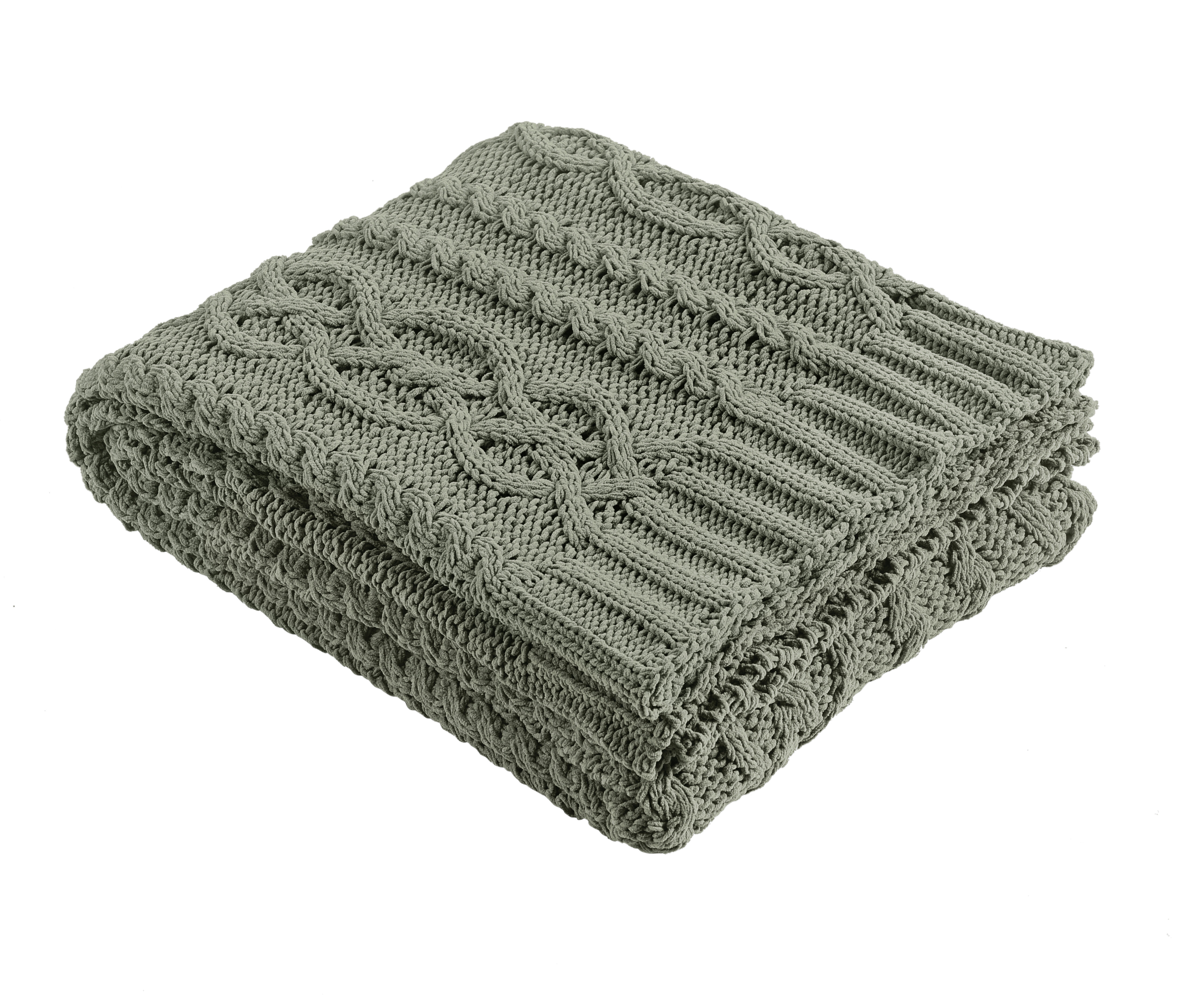 Chenille Chunky Cable Knit Throw & Reviews | Birch Lane