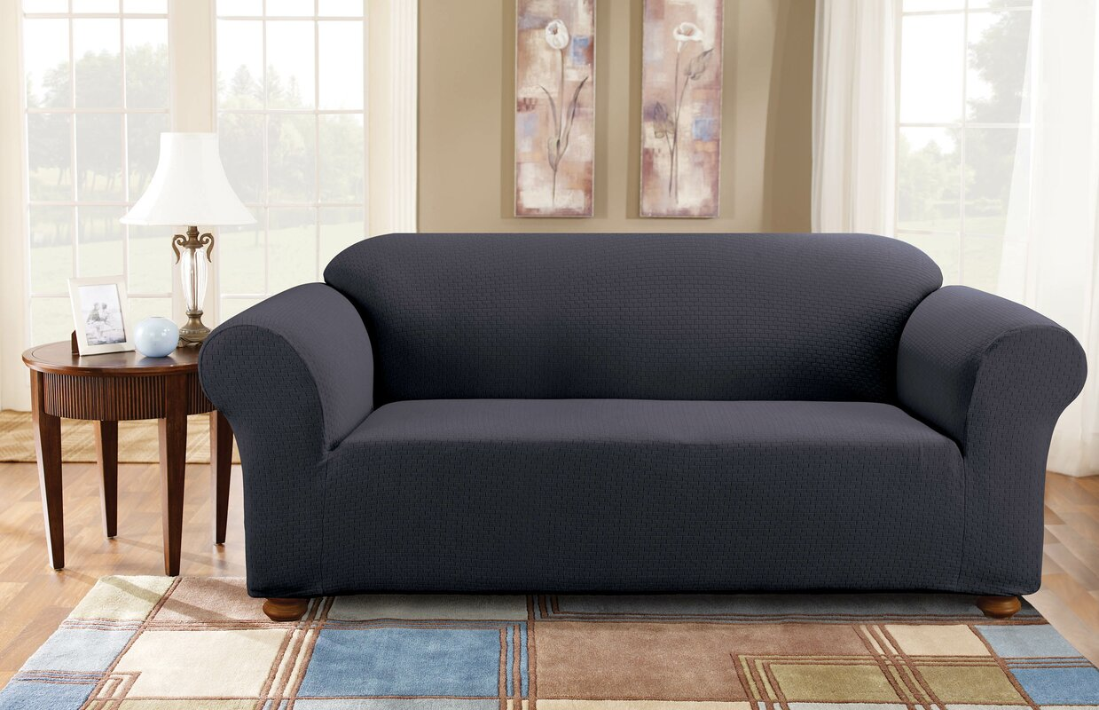 T Cushion Sofa Slipcover 2 Piece Sure Fit Simple Stretch Subway Box  Cushion Sofa Slipcover