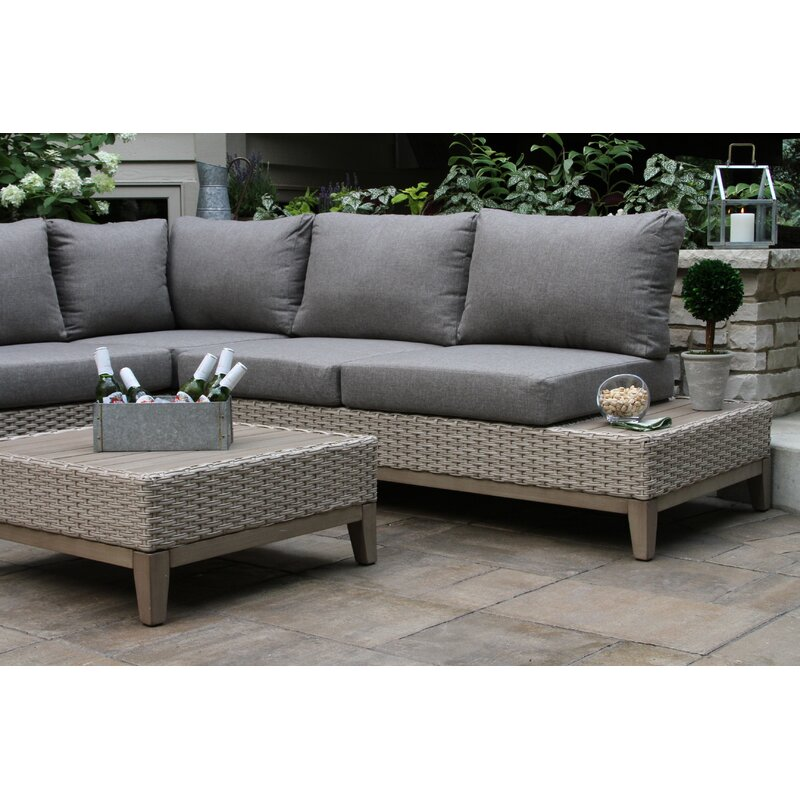 Huntleigh Eucalyptus And Wicker 4 Piece Sectional Seating Group With Cushions