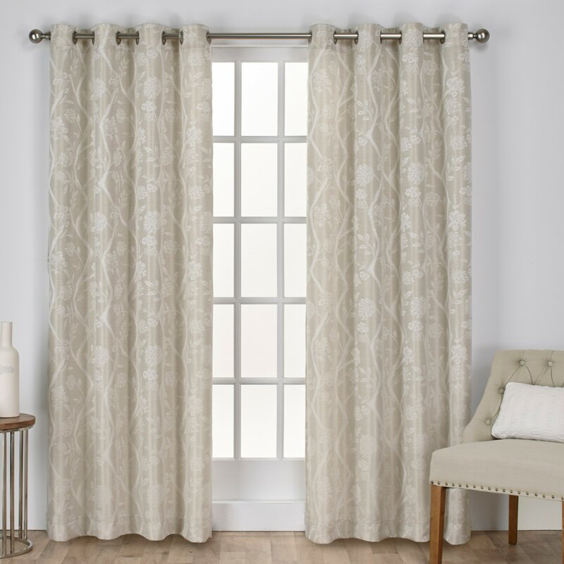 Lamont Floral/Flower Room Darkening Grommet Curtain Panels