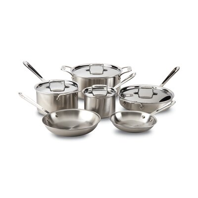 d5 Brushed Stainless Steel 10 Piece Cookware Set All-Clad
