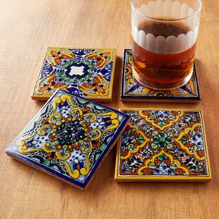 Spanish Garden Hand Painted Tile Coasters Set Of 4