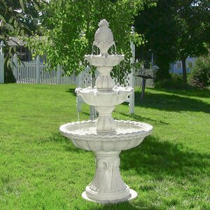Fiberglass Welcome 3-Tier Garden Fountain