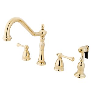 Kingston Brass Heritage Double Handle Widespread Kitchen Faucet with Brass Spray