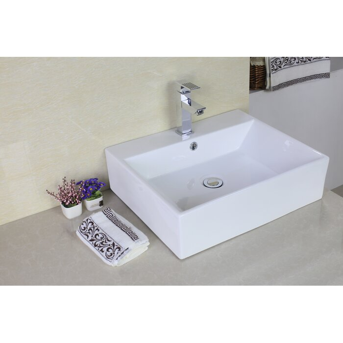 American Imaginations Rectangle Vessel Sink With Overflow