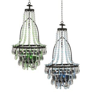 Solar outdoor chandelier wayfair baggs solar 2 light led empire chandelier set of 2 mozeypictures Choice Image