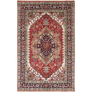 Lenita Hand-Knotted Wool Navy Blue/Red Oriental Area Rug