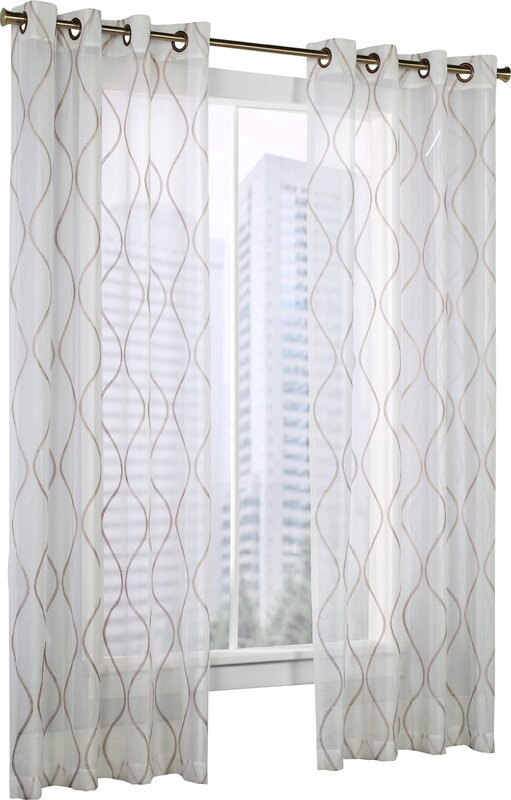 Delrico Geometric Sheer Grommet Single Curtain Panel