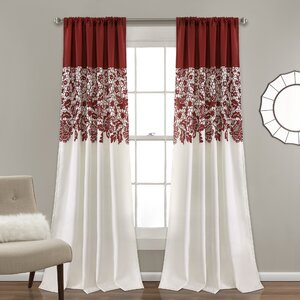 Santa Fe Print Nature/Floral Room Darkening Thermal Rod Pocket Curtain Panels (Set of 2)