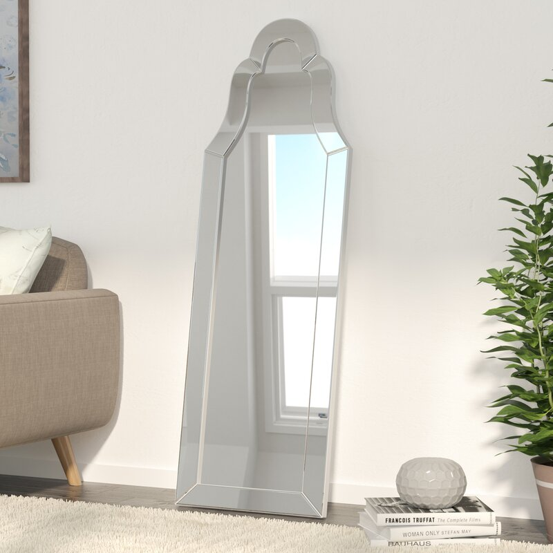 silver bevel leaning mirror