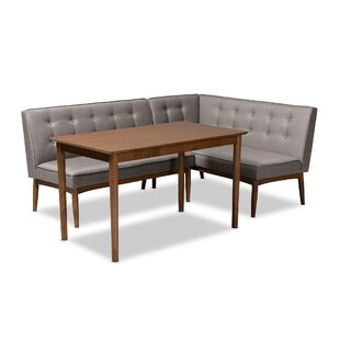 Bopp Mid-Century Modern Upholstered 3 Piece Breakfast Nook Dining Set