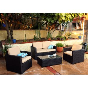 Blazer 4 Piece Rattan Sofa Seating Group with Cushions
