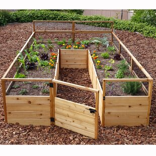 Delicieux 8 Ft X 12 Ft Raised Cedar Garden Bed With Deer Fence Kit