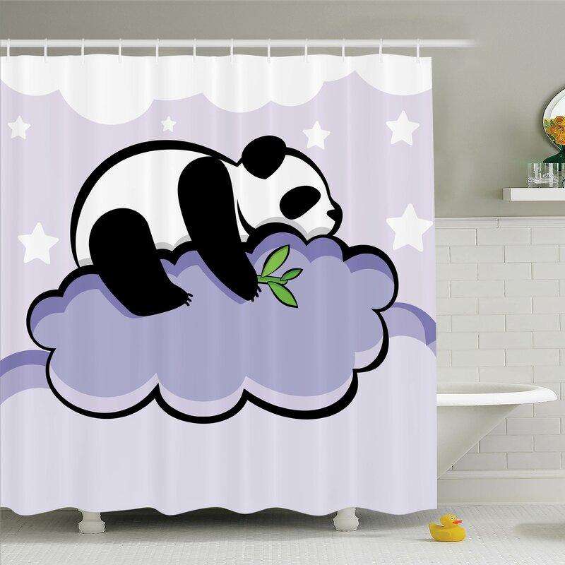 Haysi Sleeping Panda On Cloud Shower Curtain Set
