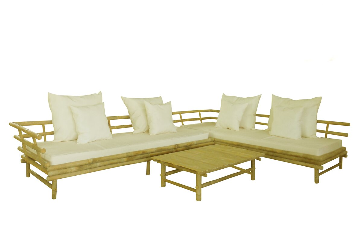 Bamboo 3 Piece Deep Seating Outdoor Couch with Cushion
