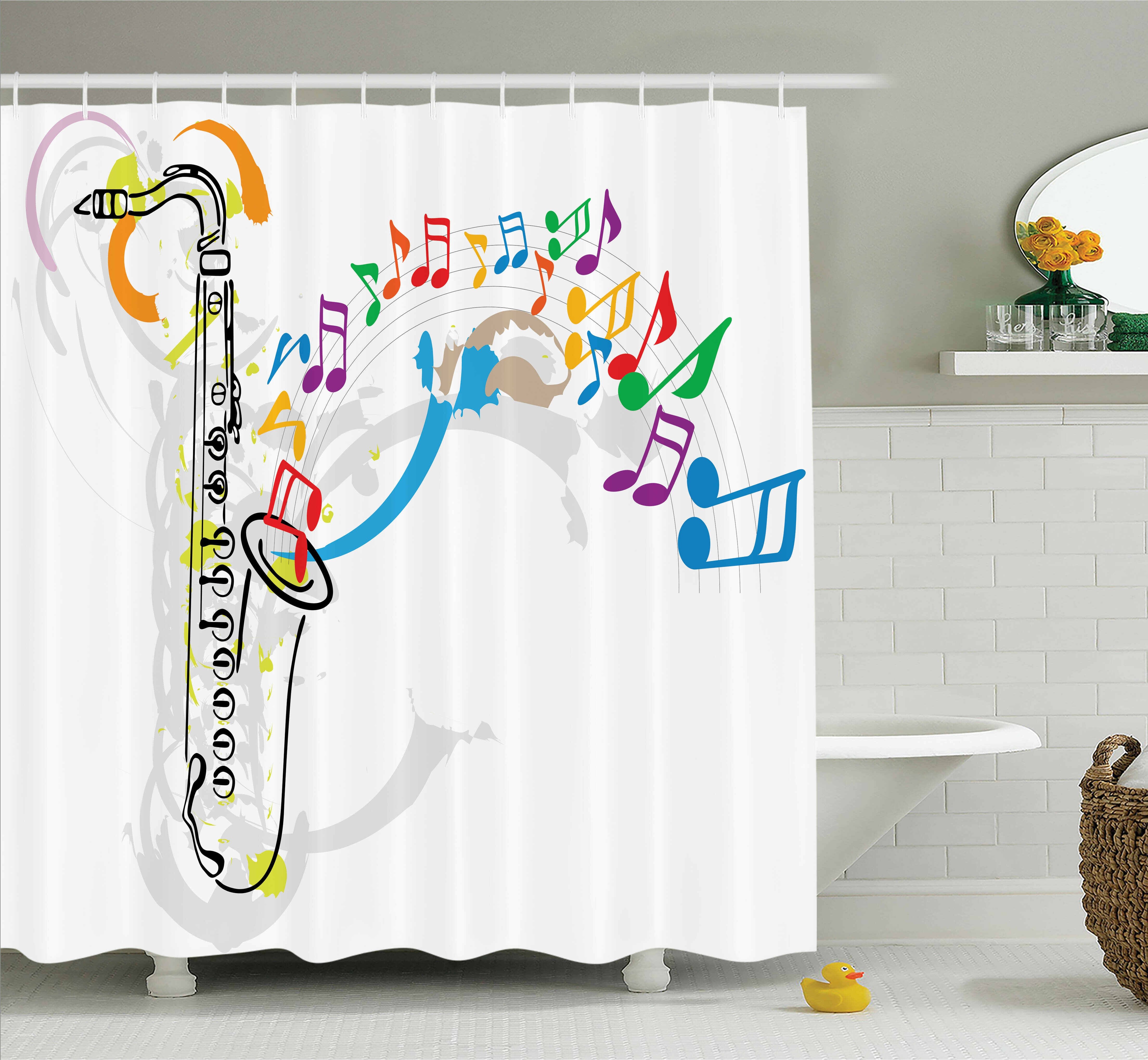 Ambesonne Music Festival Notes Melodies Shower Curtain Set