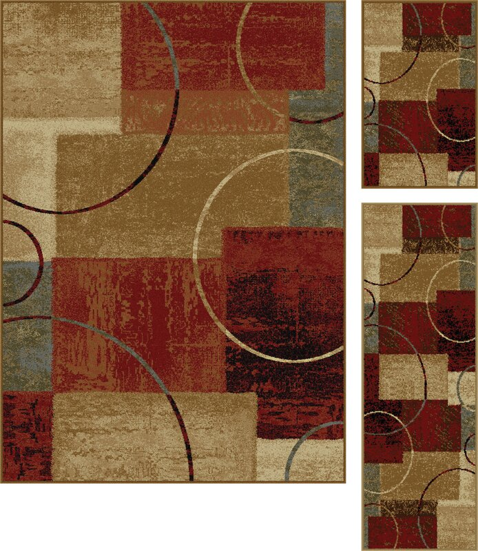 Exceptional Colette Gold/Red 3 Piece Area Rug Set