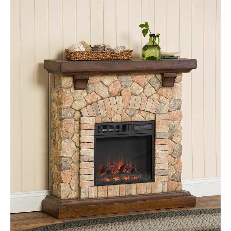 Plow Hearth Stacked Stone Infrared Quartz Electric Fireplace
