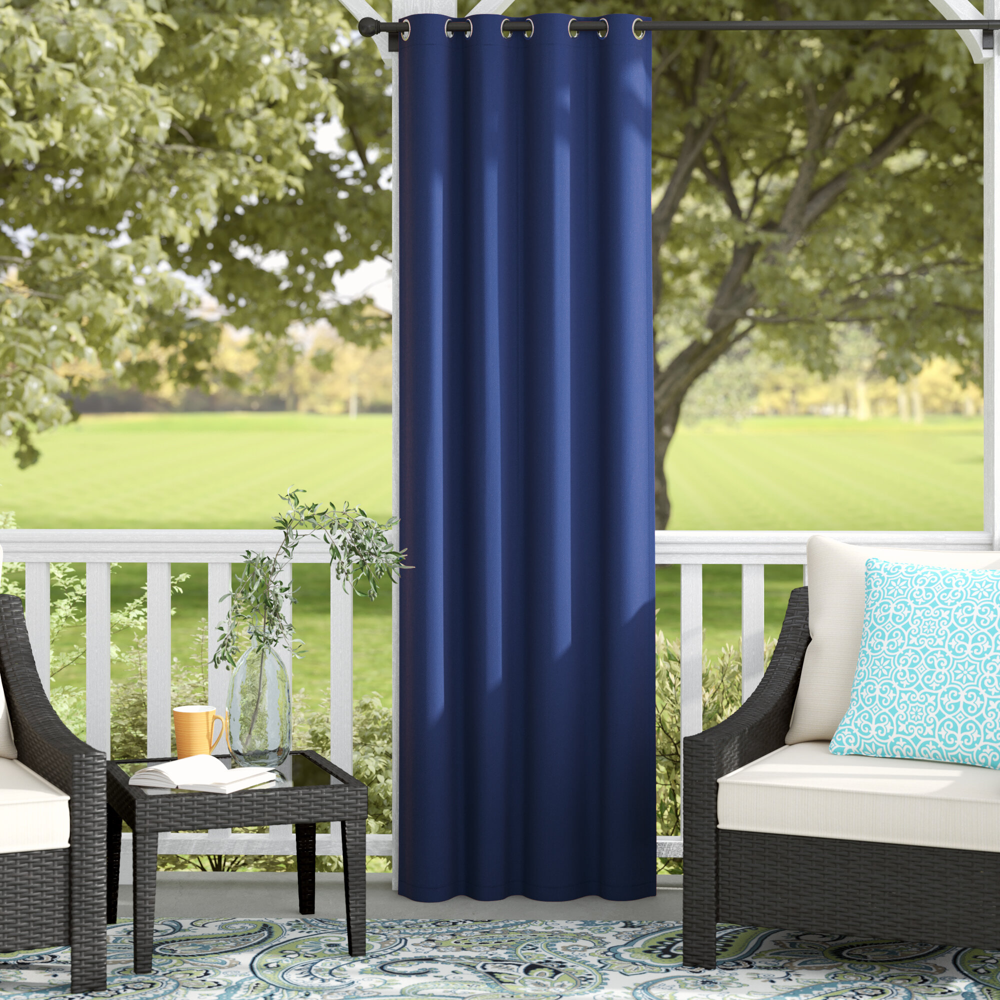 Andover Mills Sarver Outdoor Single Curtain Panel Reviews Wayfair