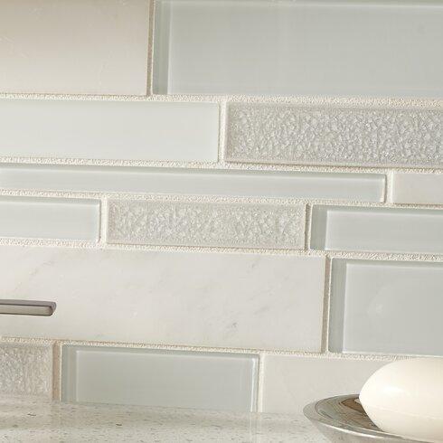 Fantasia Blanco Interlocking Pattern 12 X 18 Mixed Material Mosaic Tile