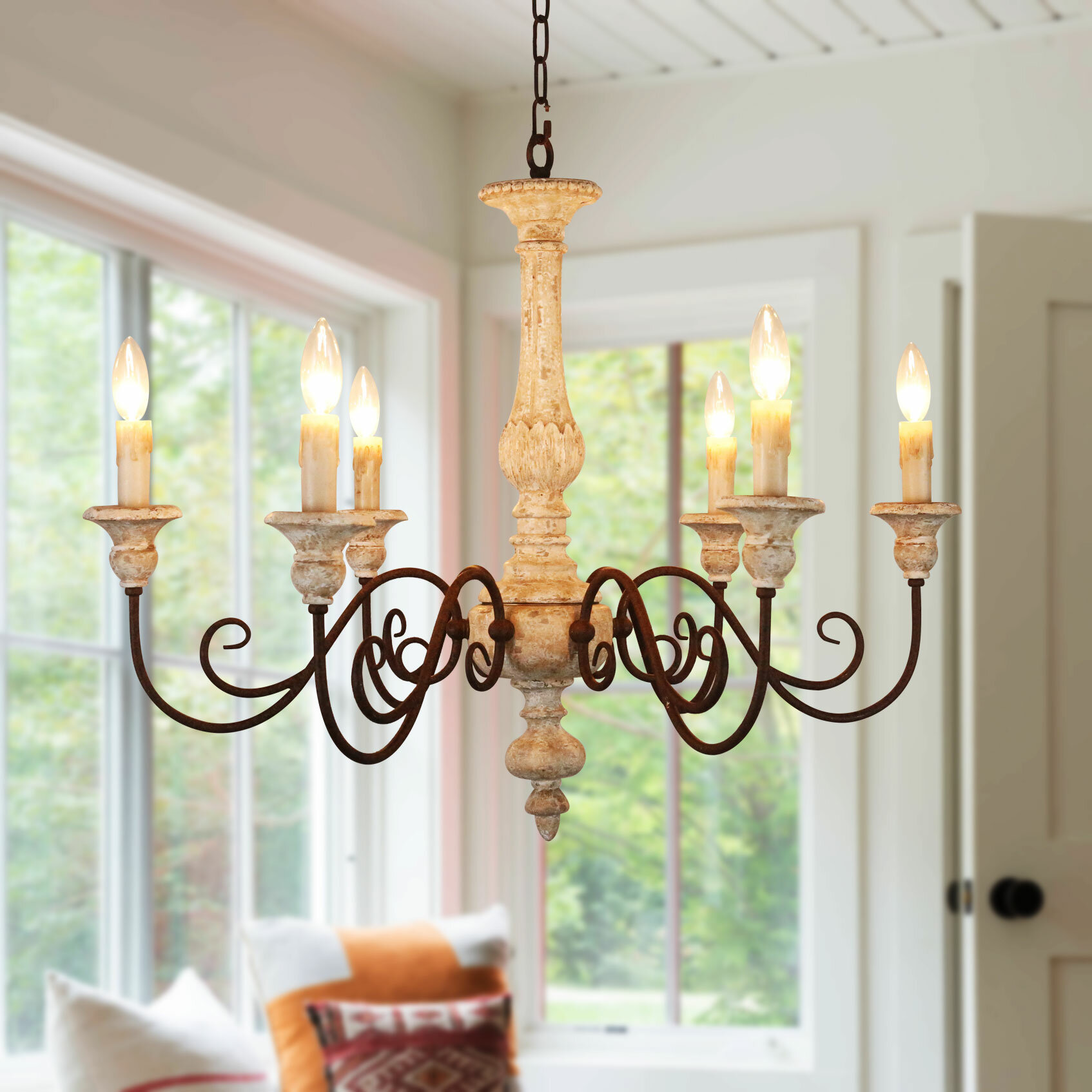 Donnelly French Country 6 Light Candle Style Chandelier
