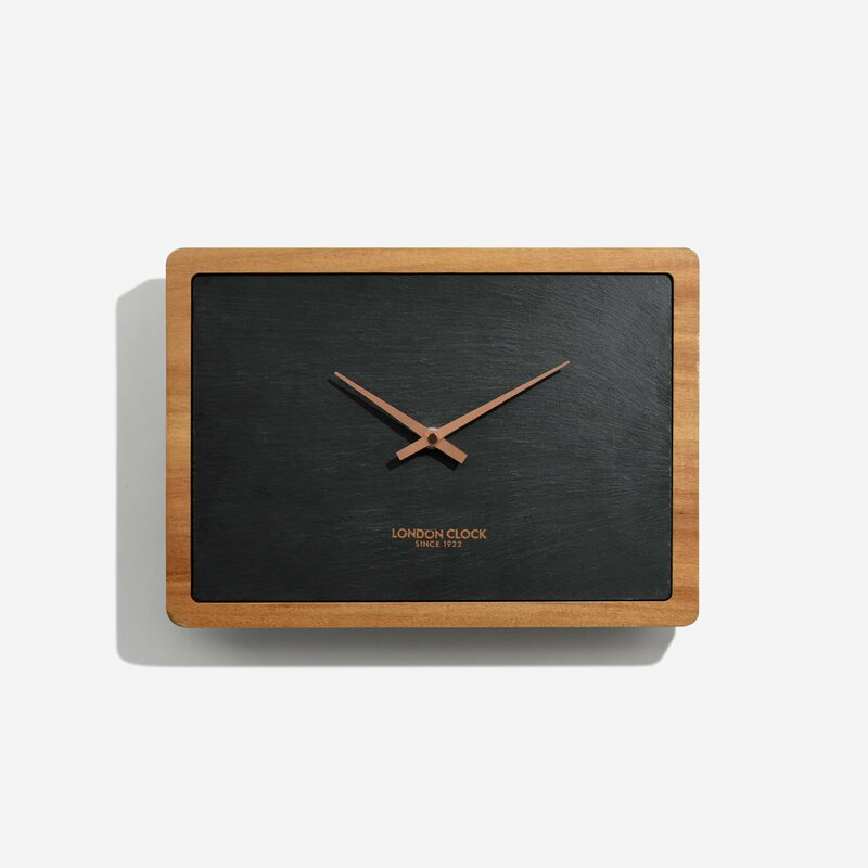 Carbon Rectangular And Solid Wood Wall Clock